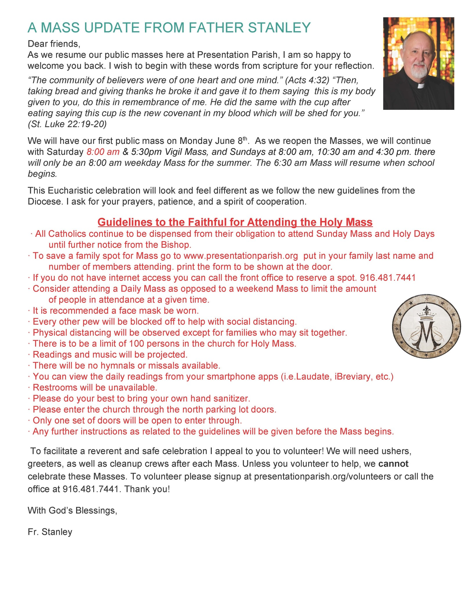 Fr. Stanley Mass Update From The Bulletin